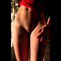 Female Torso Frontal View - Artistic Nude, Landing Strip, Pubic Hair, Tattoo