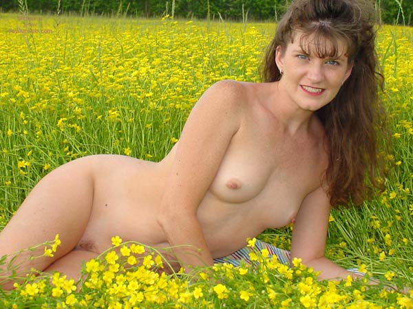 Pic #1 - Nude In A Field - Long Hair, Small Tits , Nude In A Field, Small Tits, Long Brown Hair, Yellow Flowers Field, Smile In Field