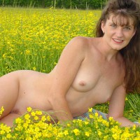 Nude In A Field - Long Hair, Small Tits