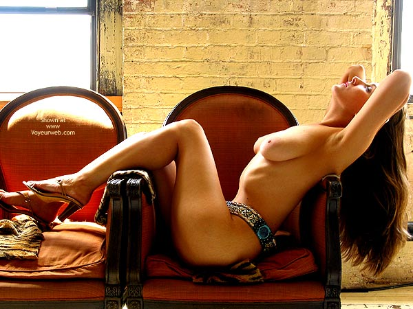 Pic #1 - Long Hair Brunette - Long Hair, On The Couch , Long Hair Brunette, Large Areoles, Draped Over A Chair, Lush On Couch, Long Haired Brunnet Relaxing, Penthouse Pose, High Heel Sandals