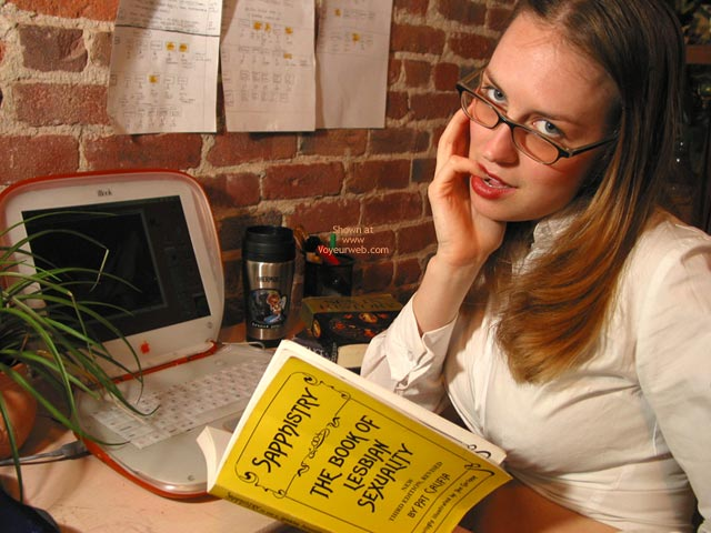 Pic #1 - Laptop Glasses - Glasses, Lesbian , Laptop Glasses, Sappho Book, Librarian Chick, Pinky In Mouth Lesbian, Lesbian Librarian, Straight Hair, Tied Up Shirt