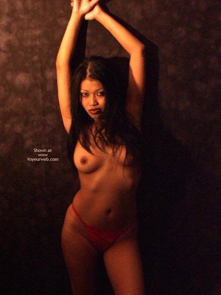 Pic #1 - Topless Girl Standing - Full Frontal Nudity, Long Hair, Sexy Panties , Topless Girl Standing, Red Panties, Long Black Hair, Frontal Shot, Sensual Goddess