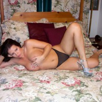 Girl On Bed - Big Tits, Thong, Sexy Shoes