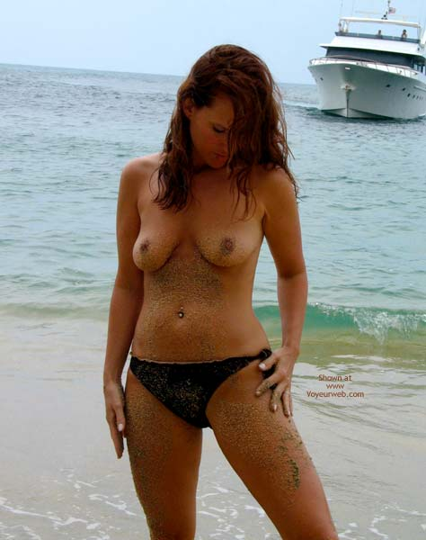 Pic #1 - Sandy Nipples - Navel Piercing, Nipples, Nude Beach , Sandy Nipples, Nude On Beach, Black Bikini Bottum, Sandy Body, Pierced Navel, Black Bikini Bottom