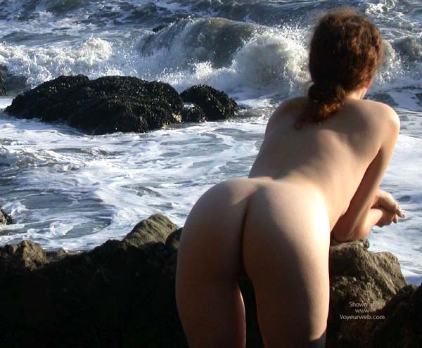 Pic #1 - Bent Over - Bend Over, Bent Over, Naked Redhead By Ocean, Leaning Against Rocks, Bare Ass Leaning Forward