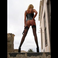 Rear Shot Of A Standing Girl - Rear View, Stockings