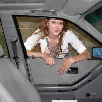 Fannyflasher  Hitch Hiking - Cleavage, Flashing, Green Eyes, Nude In Car