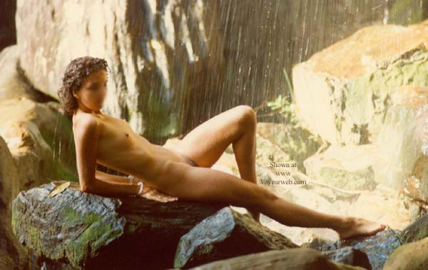 Pic #2 - Clarissa Under a Waterfall in The Rockies