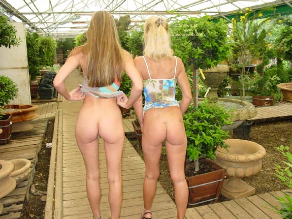 Pic #1 - Two Girls - Exposed In Public, Girls, Long Legs , Two Girls, Gap Between Legs, Dress Pulled Up, Long Legs, No Knickers, Greenhouse Ass Attack, Exposed In Public, Multi Color Summer Dress
