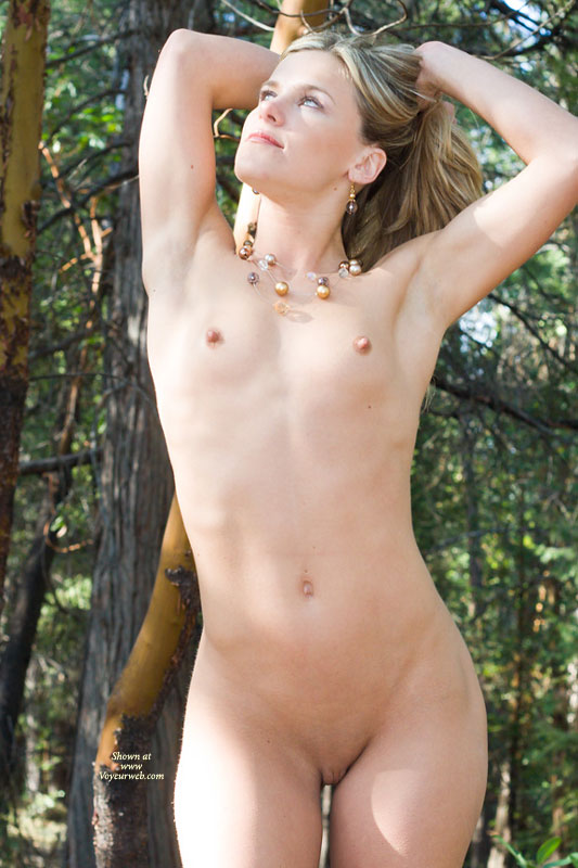 blonde naked in forest with small breasts and blonde hair - april