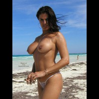 Topless Girl - Black Hair, Standing, Topless Girl, Beach Voyeur