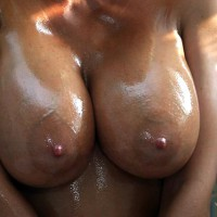 Jan Oiling My Bod - Large Breasts, Shower, Wet