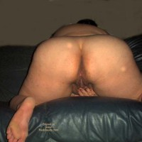 BBW Wife on Green Leather Couch