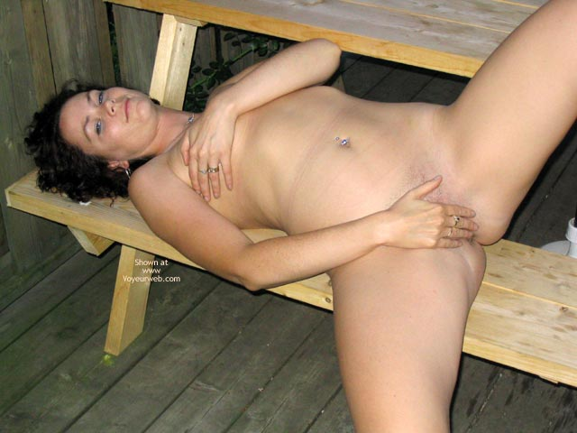 Pic #1 - Tit Holding - Navel Piercing, Titties , Tit Holding, Nude Reclining On Bench, Belly Ring, Hand Covered Boobies, Full Body
