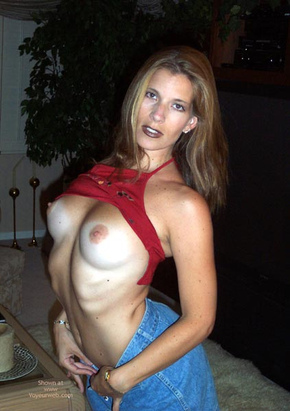 Pic #1 - Tan Lines - Flashing, Jeans, Tan Lines, Topless , Tan Lines, Topless, Tanlines, Flashing, Gothic, Blue Jeans, Red Top