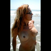 Naked Girl At The Sea - Red Hair, Beach Voyeur