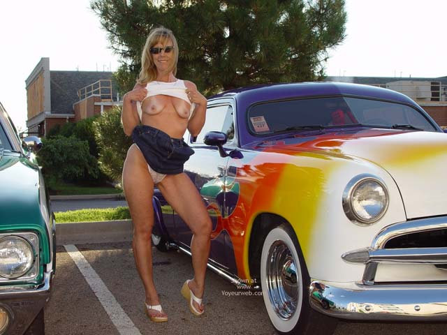 Pic #1 - Flashing Boobs - Flashing Tits, Milf, Nude In Public , Flashing Boobs, In Public, Milf, Classic Car, Flashing Tits, Posing At Car Show