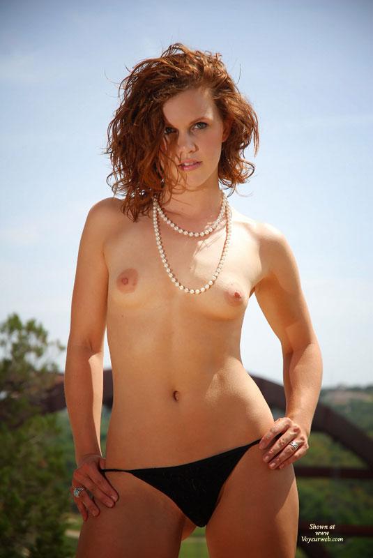Mandy? sexy topless girlfriend readhead very small tits outdoors