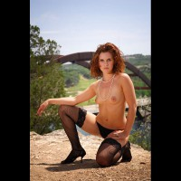 Redhead On Her Knees Topless Outside - Brunette Hair, Heels, Red Hair, Stockings, Topless