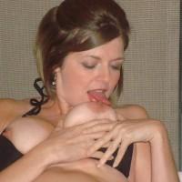 Girlfriend Licking Own Nipple - Big Tits, Brunette Hair, Hard Nipple, Large Aerolas, Large Breasts