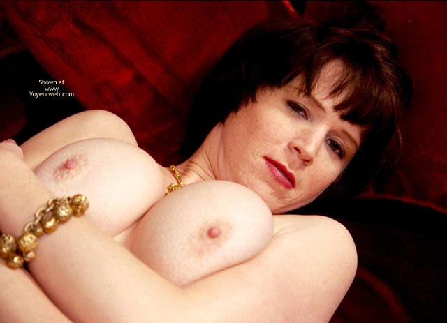 Pic #1 - Lying On Her Back , Lying On Her Back, Pushing Up Her Tits, Medium-large Rounders, Pushed Together Supine