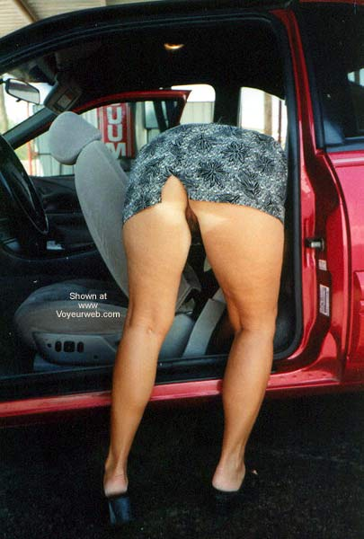 Pic #6 - The Wifey Cleaning The Car