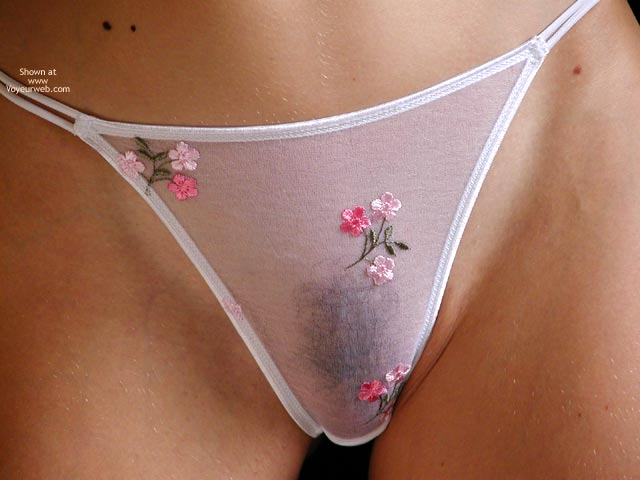 Pic #1 - Closeup Of Panty Area - Thong , Closeup Of Panty Area, White Thong, Seethrough Panty, Bush Under Panty, Flowered Camel Toe