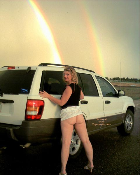 Pic #1 - Milf - Milf, Sexy Ass, Sexy Shoes , Milf, Rainbow With Naked Ass, Naked Ass, Bare Ass, Rainbow, Flashing Ass On Road, White Skirt, Black T Shirt, Black T Shirt, White High Shoes
