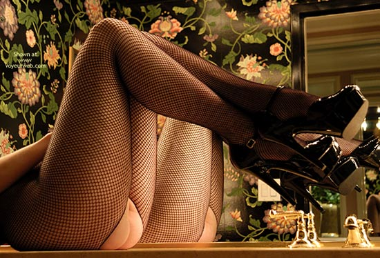 Pic #1 - Black Fishnet Stockings , Black Fishnet Stockings, Twice The Legs, Mirror Treat, Patent Leather, Stilletto Heels, Crotchless Fishnet Pantyhose