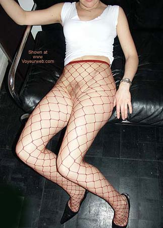 Pic #2 - Blonde German 23 in Red Fishnets