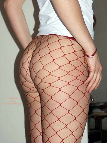 Pic #3 - Blonde German 23 in Red Fishnets