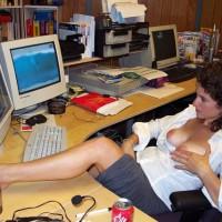 Topless At Computer - Brown Hair, Curly Hair