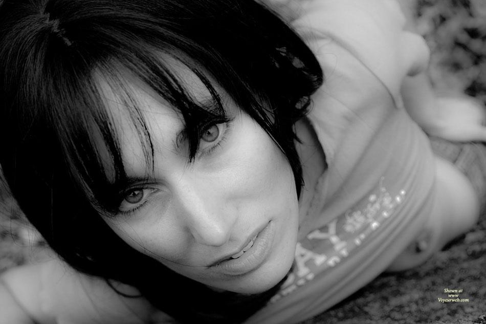 Face Closeup With Exposed Nipple - Black Hair, Dark Hair, Looking At The Camera , Black And White Photo, Eyes With Nipple Slip, Seductive Eyes, Peek A Boo Nipple, Pulled Up Shirt, Peeking Nipple, Dark Black Hair, Peek-a-boo, Slim Seductive