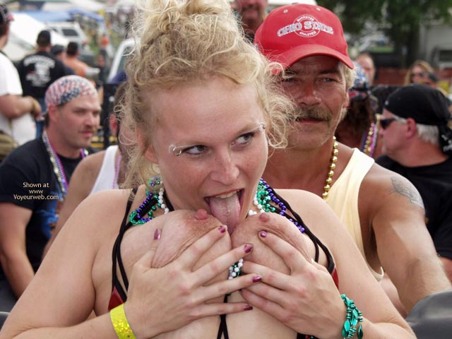 Pic #5 - Biker Rodeo Chick Swallows Her Nipples!