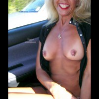 Blond - Blonde Hair, Hard Nipple, Nude In Car