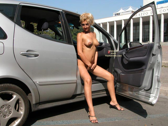 Pic #1 - Sitting Naked Outside - Nude In Car, Sandals , Sitting Naked Outside, In A Car, Sandals, Blonde With Glasses