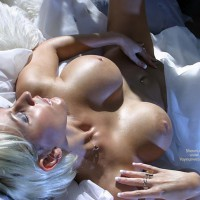 Touching Herself - Bed, Blonde Hair, Touching Herself