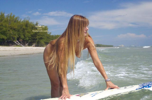 Pic #4 - Tsunami Merci Goes Naked Surfing