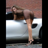 Girl Bending Over A Car - Bend Over, Heels, Rear View
