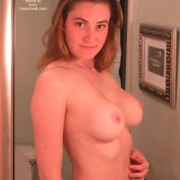 Topless Girl Looking Into Mirror - Brunette Hair, Huge Tits