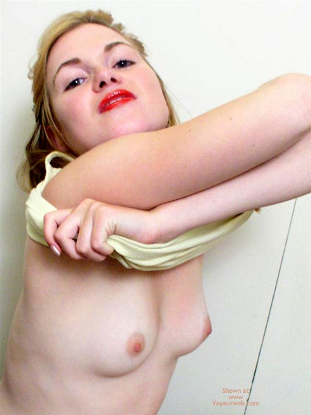 Pic #1 - Girl Undressing Her Top - Red Lips , Girl Undressing Her Top, Small Firm Tits, Red Lips, Red Lipstick, Tiny Titts
