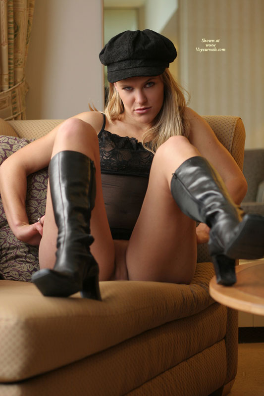 Pantyless Blonde In Black - Boots Hat And Nightie - Blonde Hair, Spread Legs , Pantyless, Showing Pussy, Sitting In Chair, Black Camisole, Foot On Table, Black Greek Hat, Black Newsboy Hat, Black High-top Boots, Puss N Boots, Leather Boots, Spread On Couch, Pussy Shot - Spread Legs, Black Sheer Camisole, Bottomless On Chair, Black Lace Cami