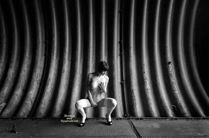 Pic #1 - Posing For Sexy Photos - Black Hair, Heels, Naked Girl, Nude Amateur , Artistic Shot, Artistic Squating Nude, Black And White, Hand Over Pussy, Looking Down, Black & White Shot, Subway Tunnel, Artistic Bw Shot, Hand Covering Crotch, Hand On Breast