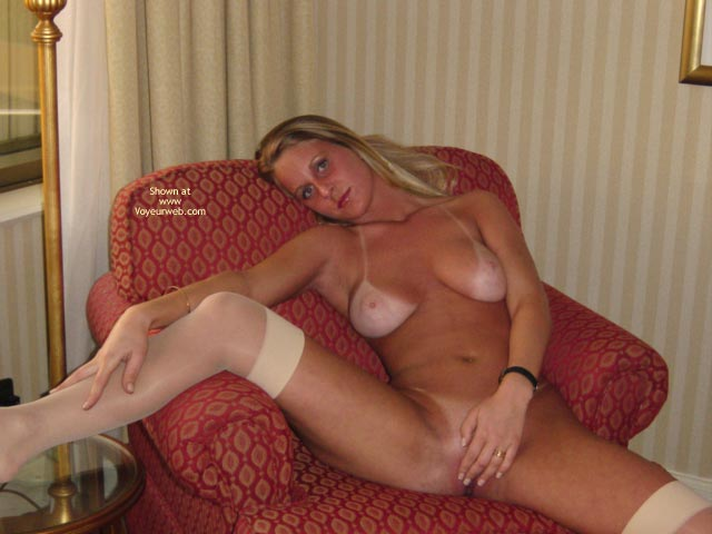 Pic #1 - Nude Girl Lounging - Spread Legs, Stockings , Nude Girl Lounging, White Stockings, Spreading Legs, Extreme Tan Lines, Very Spread Legs, Covering Pussy With Her Hand
