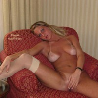 Nude Girl Lounging - Spread Legs, Stockings