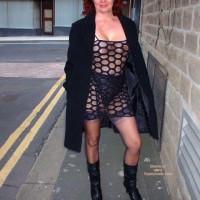Sue Flashing In See Thru Dress