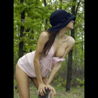 Slender Brunette Girlfriend With Long Hair Outdoor Exposing One Nipple - Brunette Hair, Long Hair , The Forest Goddess, Pink Camisole Top, Showing One Boob, Posing With A Hat On, Arched Back, Black Hat, Wood Nymph, Athletic Body, Black Hat Beauty, Brunette Sensation, Skinny Tight Hottie, Blue Flower Hat