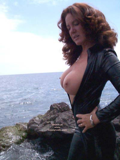 Pic #6 - Latex Catsuit On The Beach