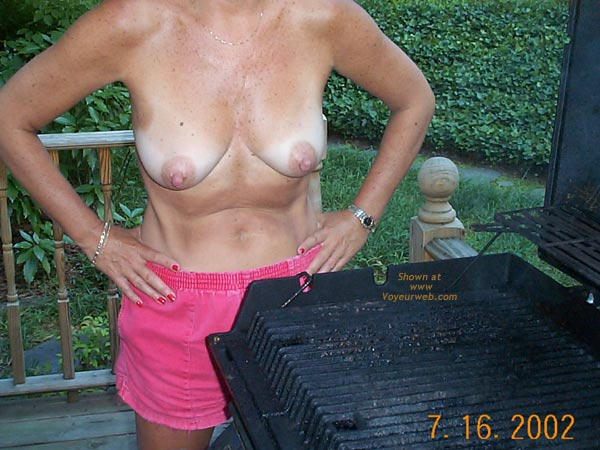 Pic #4 - Backyard Girl Grilling Out Some Chicken Breasts