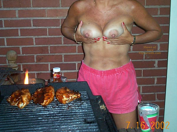 Pic #5 - Backyard Girl Grilling Out Some Chicken Breasts